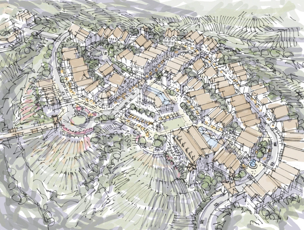 Study for layout of hilltop town center surrounded by vineyards.